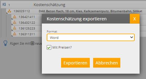 Kostenschätzung exportieren