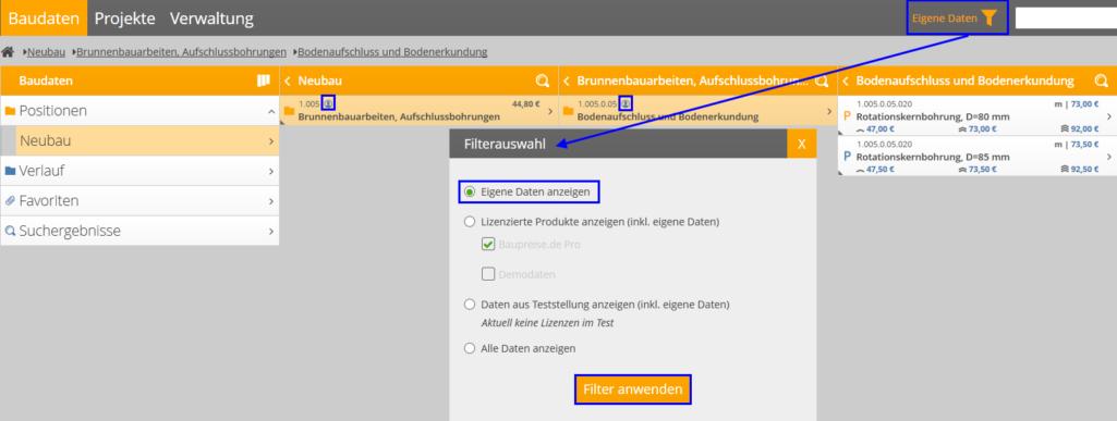 """Anzeige von """"Eigenen Daten"""" unter """"Baudaten"""" über das Filtermenü"""