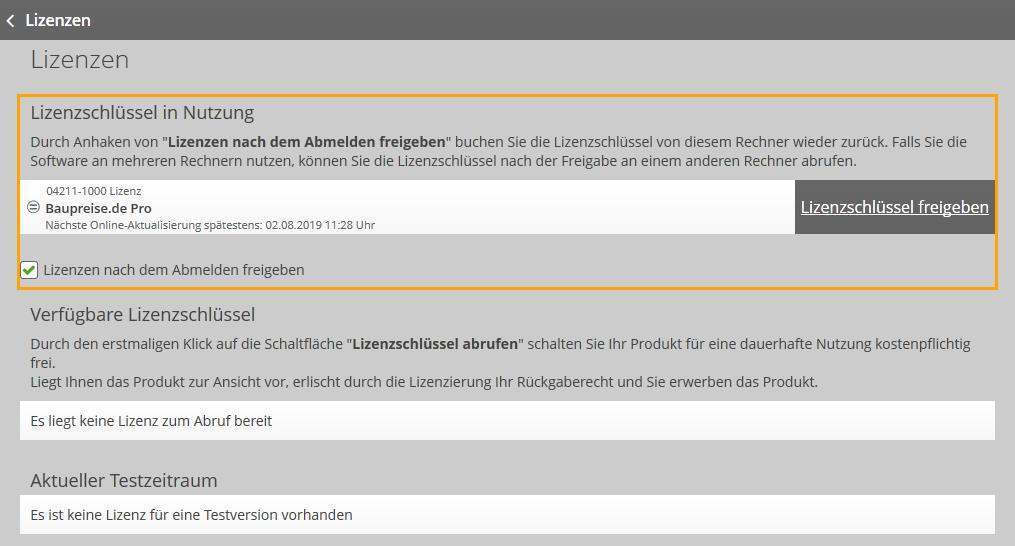 """Anzeige von """"Lizenzschlüssel in Nutzung"""" in der Verwaltung bei baupreise.de"""